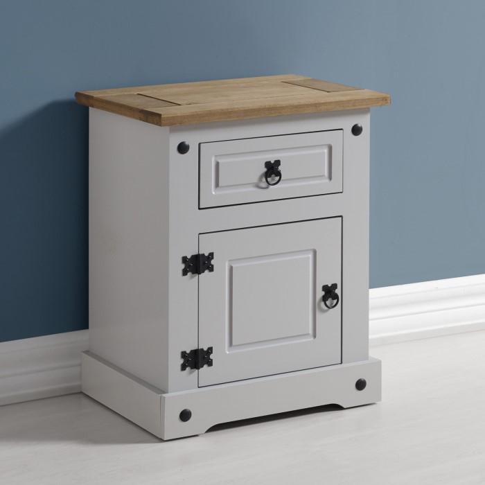 Corona 1 Drawer 1 Door Bedside Table In Grey Distressed