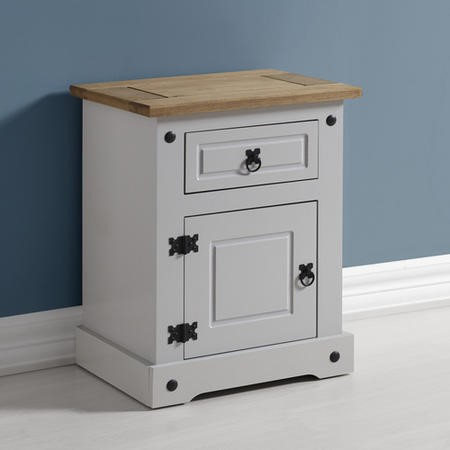 Corona 1 Drawer 1 Door Bedside Table in Grey/Distressed Waxed Pine