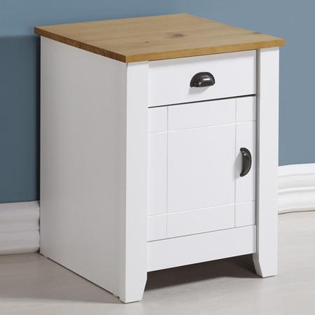 Seconique Ludlow Bedside Table in White and Oak Effect