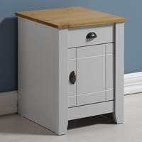 Seconique Ludlow Bedside Table in Grey and Oak