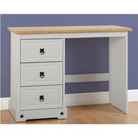 Seconique Corona 3 Drawer Dressing Table in Grey/Distressed Waxed Pine