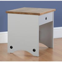 Seconique Corona Dressing Table Stool in Grey/Distressed Waxed Pine