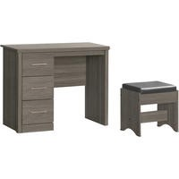Seconique Lisbon 3 Drawer Dressing Table Set in Black Wood Grain
