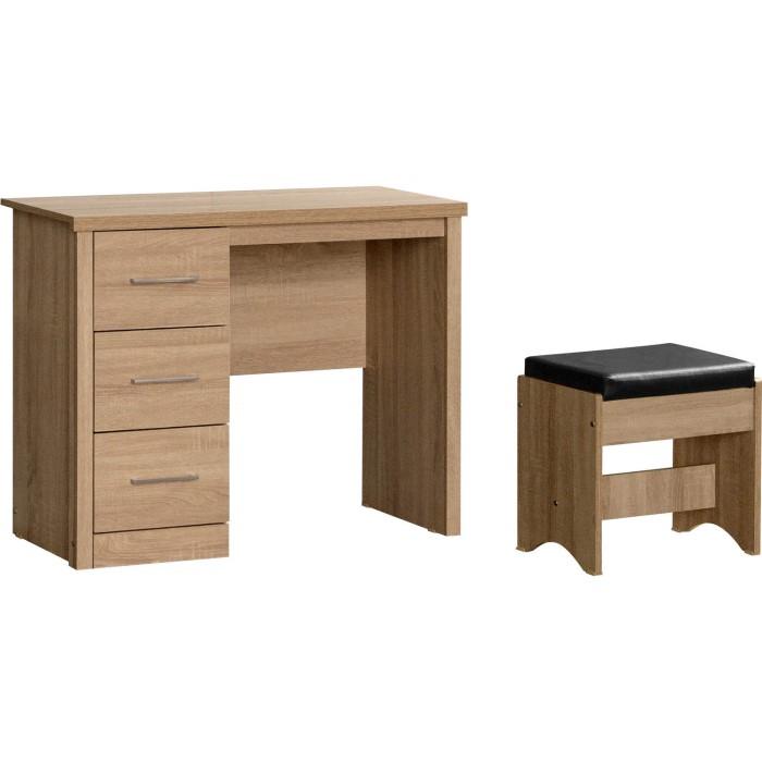 Lisbon 3 Drawer Dressing Table Set in Light Oak Effect | Furniture123