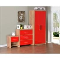 Seconique Seville Bedroom Set in Light Oak/Red High Gloss