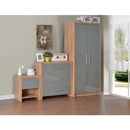 Seconique seville bedroom set in light oak veneer grey for Seville bedroom furniture