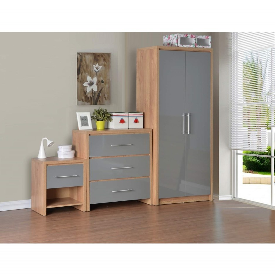 Seconique Seville Bedroom Set In Light Oak Veneer Grey