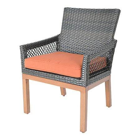 Metropolitan Grey Rattan Garden Chair with Orange Cushion