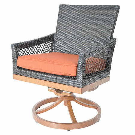 Metropolitan Grey Rattan Swivel Chair with Orange Cushion