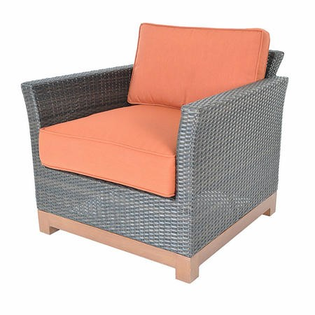 Metropolitan Grey Rattan Chair with Orange Cushions