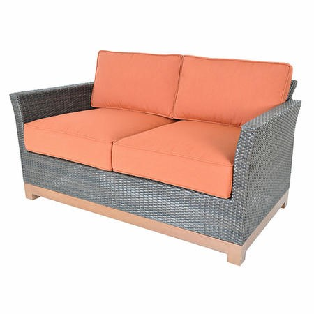 Metropolitan Grey Rattan Love Seat with Orange Cushions