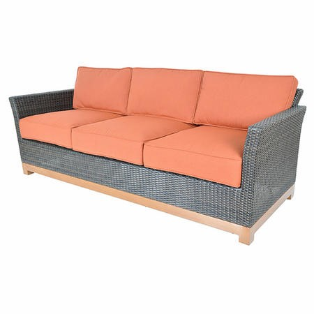 Metropolitan Grey Rattan Garden Sofa with Orange Fabric Cushions