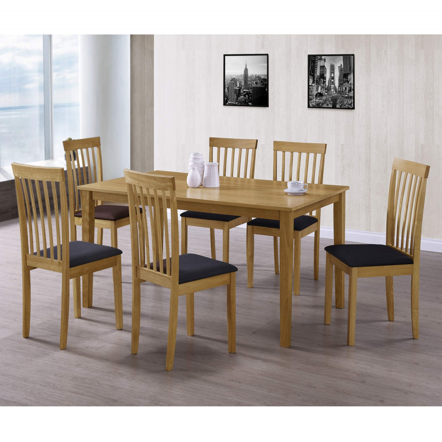 New Haven Large 6 Seater Dining Table In Light Oak 90cm X 150cm