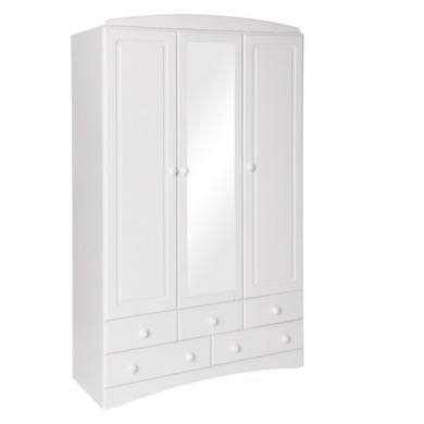 Furniture To Go Scandi 3 Door 5 Drawer Robe With Mirror In White