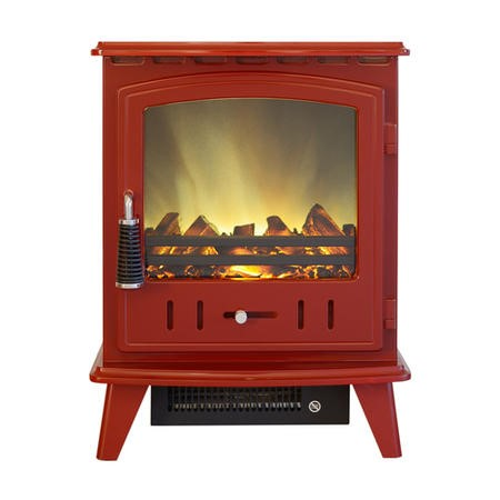 Stove Red Electric Traditional Stove Fire with a LED Flame Effect on a Log Effect Bed