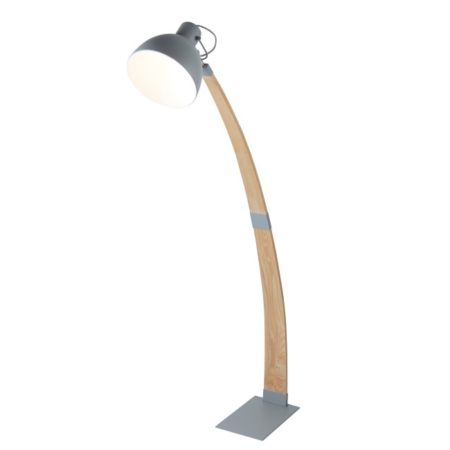 Floor Lamp in Light Grey & Wood - Nanna