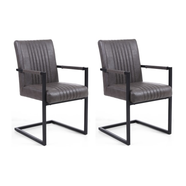 GRADE A1 - Shankar Pair of Archer Cantilever Leather Effect Grey Carver Chair