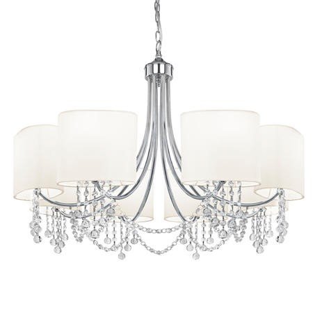 Nina 8 Light Chandelier Ceiling Light in Chrome with White Shades
