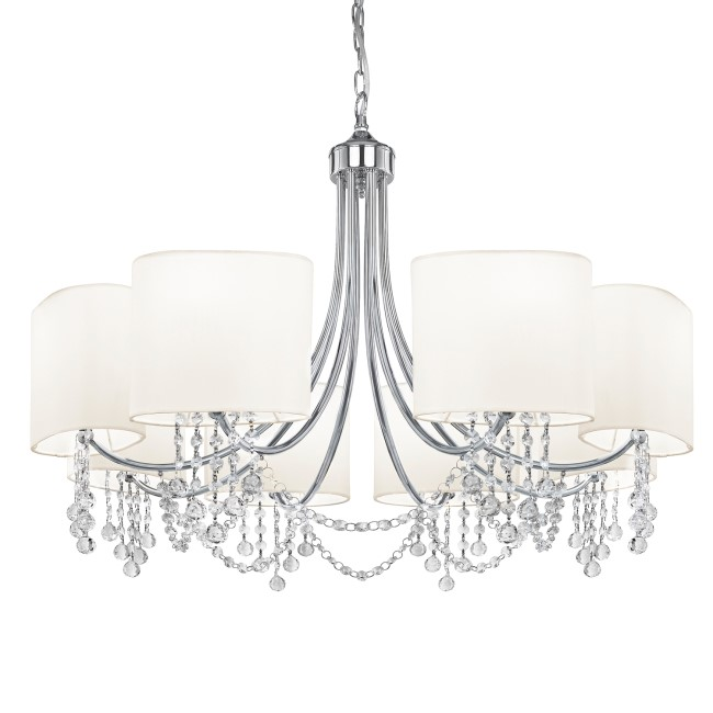8 Light Chandelier in Silver with White Shades - Nina