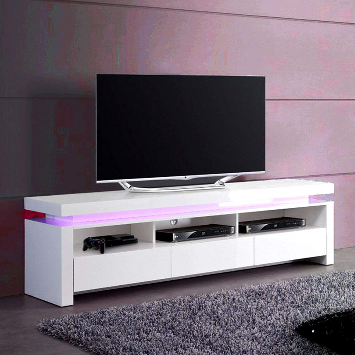 GRADE A3   Evoque LED TV Unit In White High Gloss With 3 Touch Open Drawers