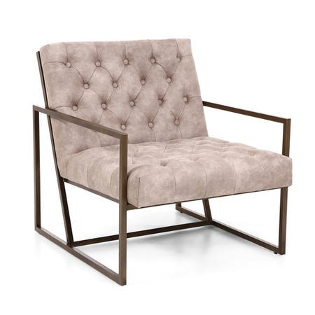 Monaco Beige Armchair with Suede Effect Back Button Finish