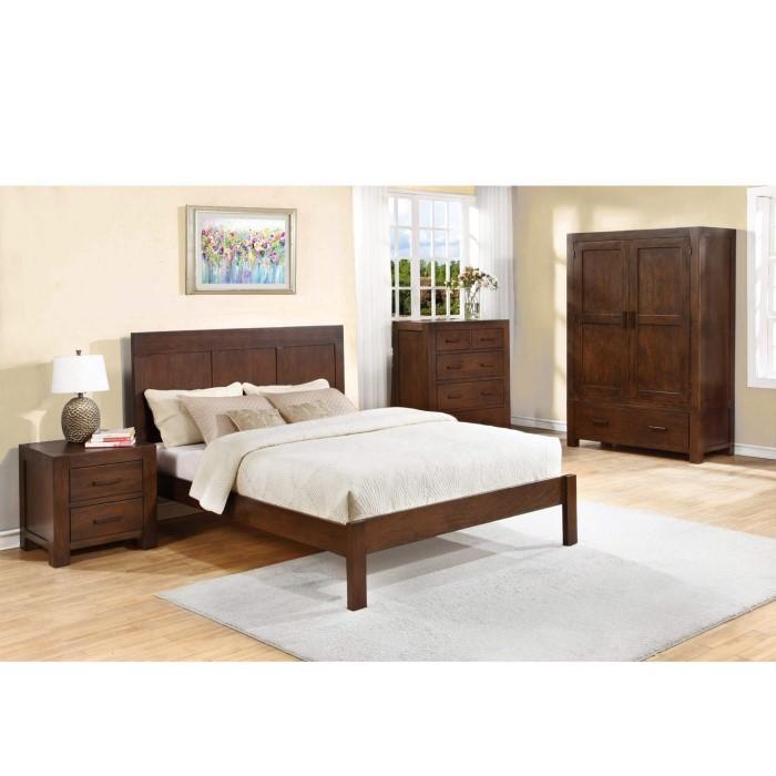Pacific Solid Dark Oak Kingsize Bed Frame - Walnut Effect   Furniture123