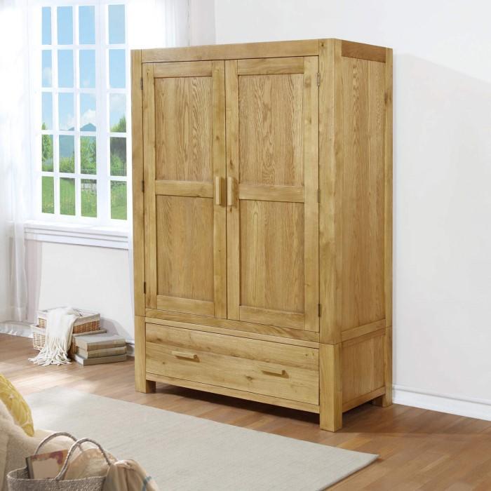 atlantic solid light oak wardrobe 1 hanging rail 1 drawer furniture123. Black Bedroom Furniture Sets. Home Design Ideas