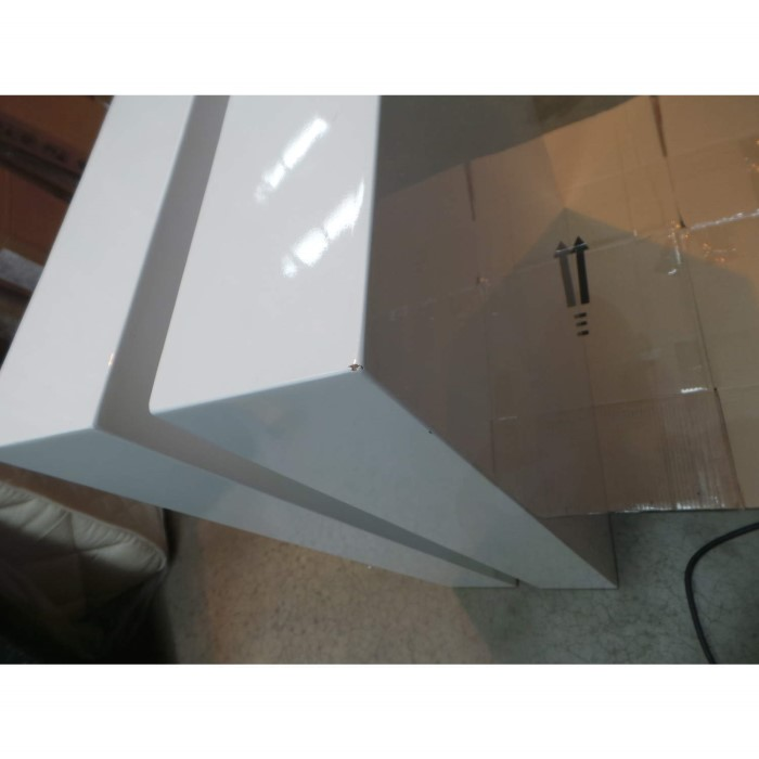 Rectangle High Gloss White Coffee Table With Led Lighting: Tiffany White High Gloss Cubic LED Coffee Table