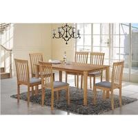 New Haven Large Dining Set with 6 Slatted Chairs in Grey