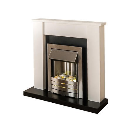 Adam Solus Modern White Fireplace Mantel with Electric Insert in Brushed Steel