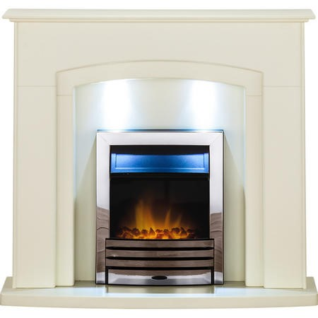 Adam Falmouth Electric Fireplace Suite in Stone Effect with LED Downlights