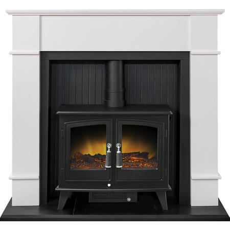 Adam Oxford White Suite With Double Door Electric Stove In