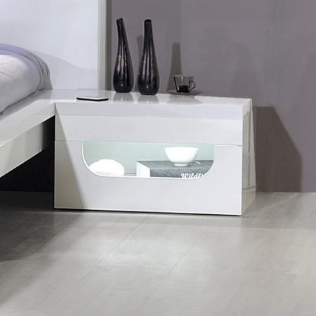 Sciae opus 36 bedside table with light in white high gloss for 12 wide bedside table