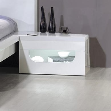 Sciae Opus 36 Bedside Table with Light in White High Gloss