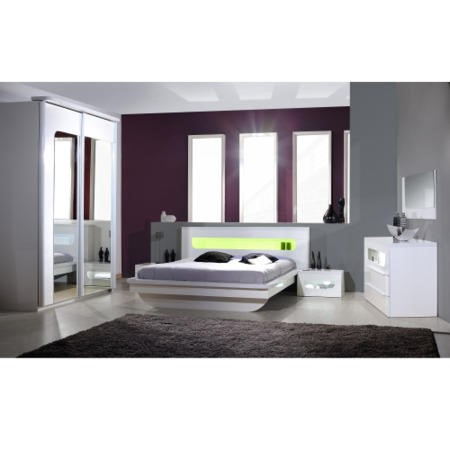 Opus 36 Continental Kingsize Bed with Lighting in White High Gloss