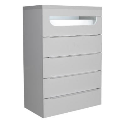 Sciae Opus 36 5 Drawer Chest With Light in White High Gloss