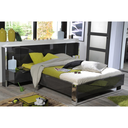Sciae Sunrise 32 Kingsize Bed in Grey High Gloss