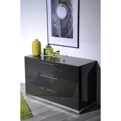 Sciae Sunrise 32 3 Drawer Chest in Grey High Gloss
