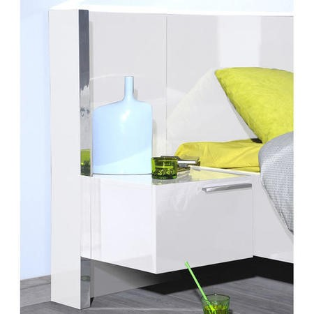 Sciae Sunrise 36 Left Bedside Table with Lighting in White High Gloss