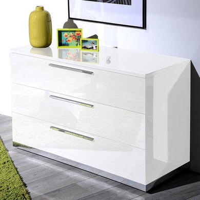 Sciae Sunrise 36 3 Drawer Chest in White High Gloss