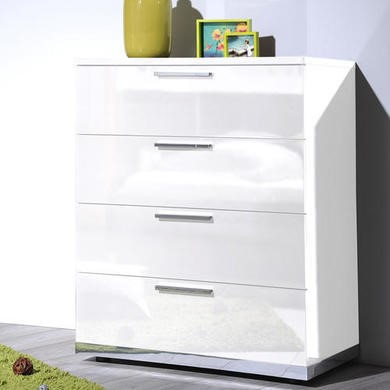 Sciae Sunrise 36 4 Drawer Chest in White High Gloss