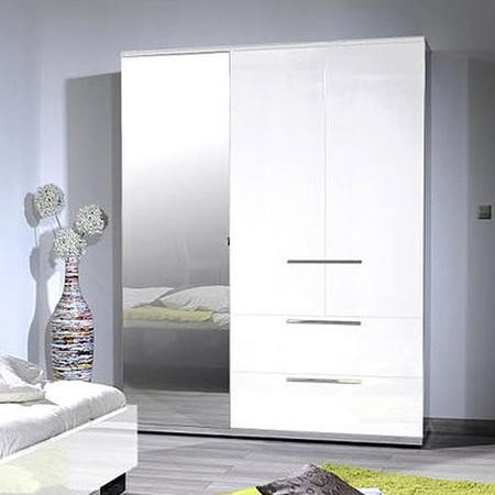 Sciae Sunrise 36 Triple Wardrobe in White High Gloss