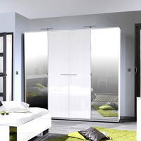 Sciae Sunrise 36 4 Door Wardrobe in White High Gloss