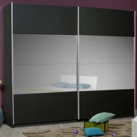 Sciae Optimus 36 2 Door Sliding Wardrobe in Black High Gloss