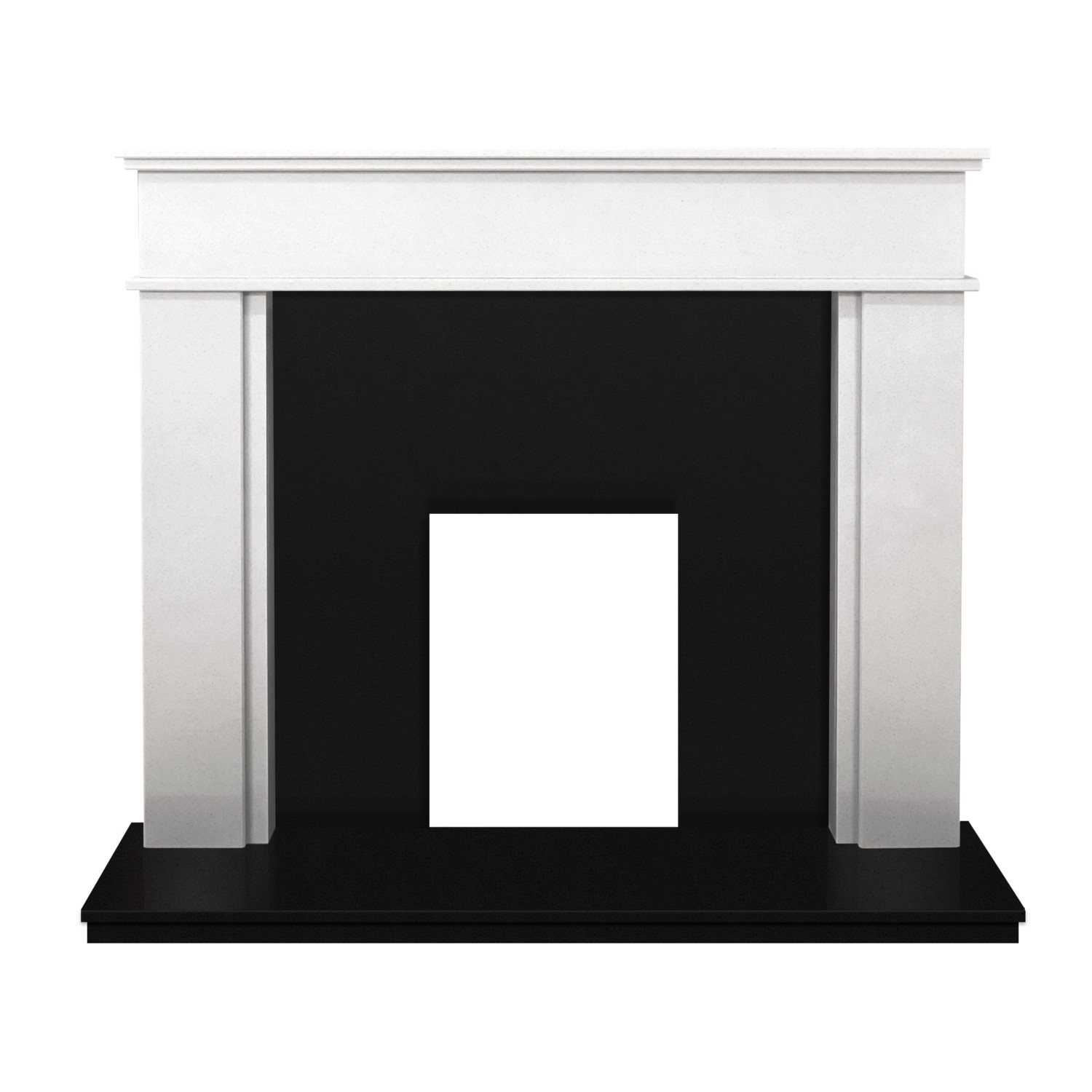 Adam Portland Sparkly White Marble Fireplace Surround With Black Hearth Furniture123