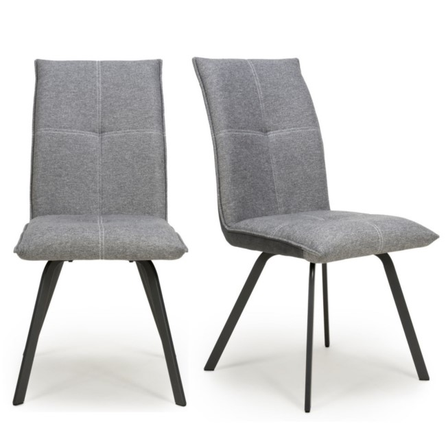 Ariel Linen Effect Pair of Light Grey Dining Chairs