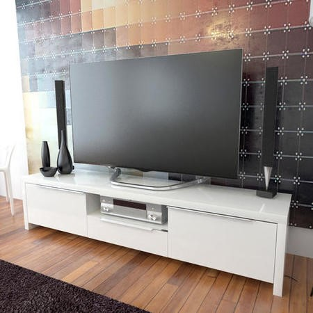 Grade A2 Evoque Led High Gloss White Tv Unit Furniture123
