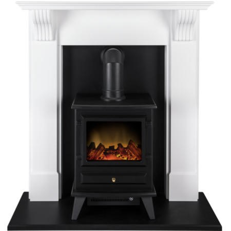 Adam Harrogate Electric Fireplace Suite with Hudson Electric Stove in Black