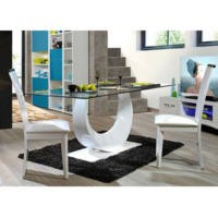 Sciae Smooth 36 Glass Top Dining Table in High Gloss White