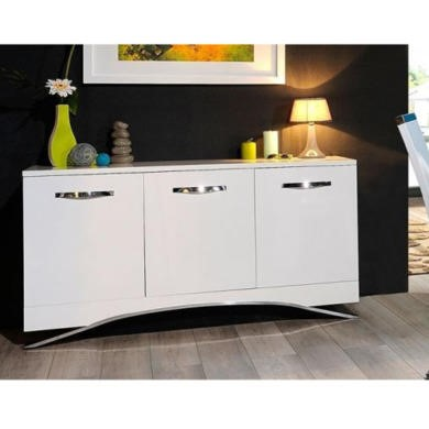 Sciae Smooth 36 3 Door Sideboard in High Gloss White